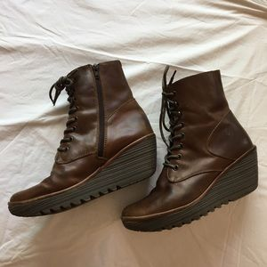 Fly London brown leather tie up wedge boot size 40